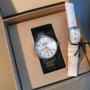 NWOT Shinola Canfield white silver watch ex strap